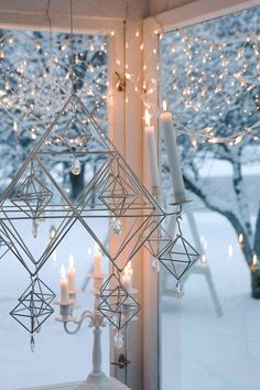 "Christmas time, hanging ""Himmeli"" - made of straw, Ullamaija Hännien Decoration Christmas, Noel Christmas, Christmas Is Coming, Christmas And New Year, Winter Christmas, Holiday Decor, Christmas Lights, Deco Nature, Candle Lanterns"