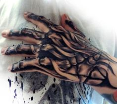 Male Skeleton Tattoos On Hands And Fingers