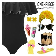 """""""The One-Piece"""" by elsakurppa ❤ liked on Polyvore featuring Lisa Marie Fernandez, Ted Baker, Lime Crime, Forever 21 and onepieceswimsuit"""