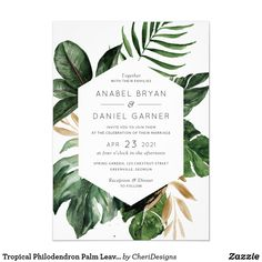 Wedding Theme Tropical Philodendron Palm Leaves Modern Wedding Invitation Tropical Palm Wedding Invitation - Shop Tropical Philodendron Palm Leaves Modern Wedding Invitation created by CheriDesigns. Personalize it with photos Handmade Wedding Invitations, Destination Wedding Invitations, Wedding Invitation Wording, Floral Invitation, Destination Weddings, Wedding Stationery, Invitation Suite, Wedding Planning, Event Invitations