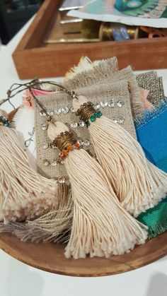 Silk tassels strung with vintage gold thread and embellished with vintage Swarovski sew on crystals. Tassels, Swarovski, Crystals, Sewing, Create, Shop, Gold, Vintage, Beautiful