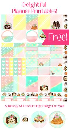 Eat Cake Planner Printables: Here is an instant download that I hope you love! Sinceyesterday's yummy treats were such a hit..I thought I would go ahead and create a matching planner addict collection for all you planner girls out there! It's a full page loaded with pastel eye candy that makes you hungry by just …