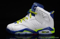 543390-108 AIR JORDAN 6 RETRO Branco/Verde/Azul verde Fierce Masculino