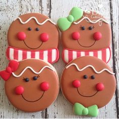 Gingerbread Boy and Girl by Dolce Custom Cookies Christmas Sugar Cookies, Christmas Cupcakes, Christmas Sweets, Noel Christmas, Christmas Goodies, Holiday Cookies, Christmas Baking, Gingerbread Cookies, Fancy Cookies