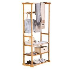 Bamboo Three-Layer Vintage Coat Rack Stand with Hooks Hat Organization US Shoe Storage Shelving, Storage Rack, It Gets Better, Clothes Stand, Clothes Racks, Hall Tree With Storage, Vintage Coat Rack, Hat Organization, Standing Coat Rack