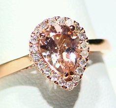 1.10CT 14K ROSE GOLD NATURAL MORGANITE ROUND WHITE DIAMOND ENGAGEMENT HALO RING #Handmade #Cocktail