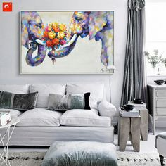 1 Panel Unframed Modern Elephant Love Nordic Wall Canvas Art