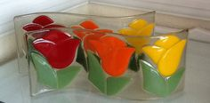 Fused glass - Tulips