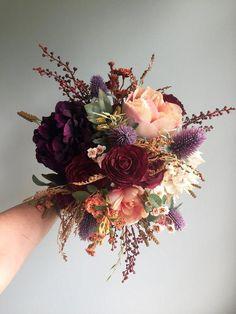 Fall Wedding Bouquet, Silk Wedding Bouquet, Rustic Bridal Bouquet, Burgundy Bouquet, Autumn Flower B - Svatební kytice - Hochzeitsblumen