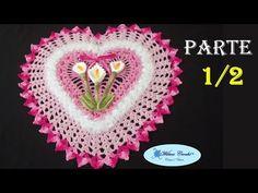 Jogo de Banheiro Coração Tapete de Pia 1/2 # Wilma Crochê - YouTube