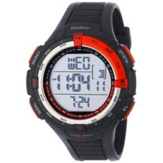 Armitron Men's 40/8288RED Sport Large Metallic Red Accented Black Resin Strap Chronograph Digital Watch
