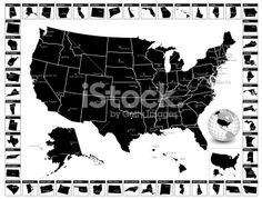 Detailed editable vector US state map with capitals and cities. Royalty Free Stock Vector Art Illustration