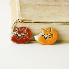 Mr. Fox Ceramic Button $12.00 | BackBayPottery