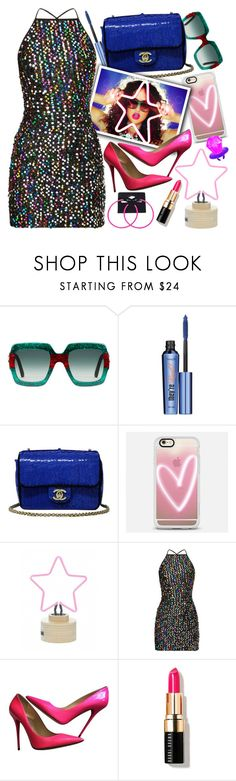 """""""Who Says You Can't Wear Sequins After New Years?"""" by chey-love ❤ liked on Polyvore featuring Gucci, Benefit, Chanel, Casetify, Jimmy Choo, Bobbi Brown Cosmetics and vintage"""