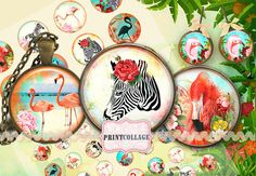 Digital Printable Sheet Cabochon images 1.5 inch by PrintCollage