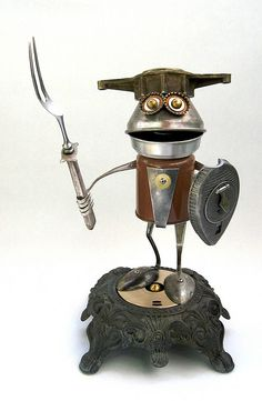 Found Object Robot Assemblage Sculpture by Brian Marshall, by adopt-a-bot