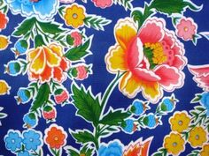 Blue zoya mexican folk floral oilcloth tablecloth, love this!