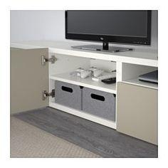 BESTÅ TV-Bank, weiß, Selsviken Hochglanz beige - 180x40x38 cm - Schubladenschiene, Drucksystem - IKEA