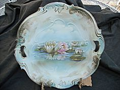 Reflecting Water Lily Handled Cake Plate R. S. Prussia