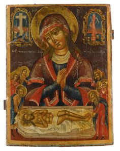 A Russian Icon of the Lamentation of Christ, second quarter, century Religious Images, Religious Icons, Religious Art, Christian Stories, Christian Art, Claude Monet, Vincent Van Gogh, Russian Ark, Madonna