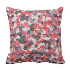 Throw Pillow with Printed Quilted Camo Pattern - pattern sample design template diy cyo customize
