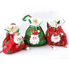 Coscelia Weihnachts-Geschenktasche Santa Claus Geschenkbeutel super süße Weihnachtsdeko Säckchen-Farbe zufällig-