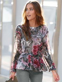 Blusa vestir mujer estampada manga larga