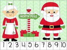 8 rompecabezas numéricos navideños