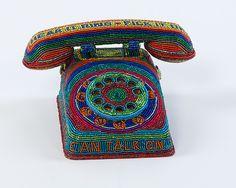 """Toy Phone""  Beaded Sculpture    Created by Kathy Wegman and Tom Wegman"