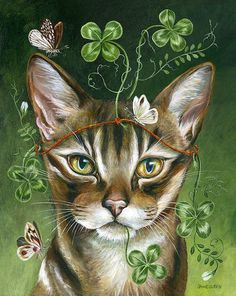 The Luck of Clover by Janie Olsen, Acrylic Art And Illustration, Fantasy Kunst, Fantasy Art, Painting Gallery, Art Gallery, Art Fantaisiste, Photo D Art, Whimsical Art, Beautiful Cats