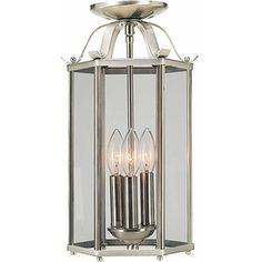 Forberg 9-in W Brushed Nickel Clear Glass Semi-Flush Mount Light
