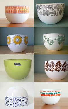 Finel Finland Enamelware: Bowls I have the Mushrooms bowl on the top right. It belonged to my mother. Bauhaus, Kitchenware, Tableware, Mid Century Modern Kitchen, Vintage Enamelware, Vintage Bowls, Marimekko, Mid Century Design, Scandinavian Design