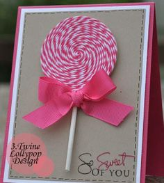 CARDS: Handmade card with baker's twine lollipop! Tarjetas Diy, Shaped Cards, Handmade Birthday Cards, Kids Cards, Creative Cards, Cute Cards, Scrapbook Cards, Scrapbook Photos, Homemade Cards