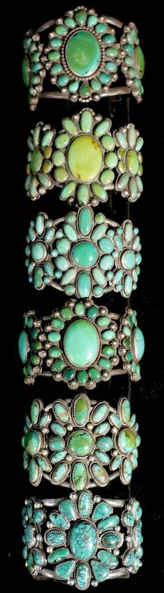 Turquoise cluster bracelets by silversmith Greg Thorne.