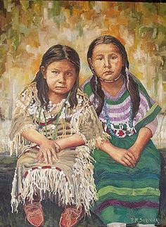 fine oil native american paintings | Watching Painting by Peggy Selander - Sisters Watching Fine Art Prints ...