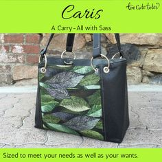 "#TooCuteTotes Caris is a small #carry-all tote, or a large #handbag. You decide!  Measuring 13"" x 10"" x 5.5"", Caris works well as a large handbag, a small carry-all, or a #business tote! She's certainly not short on style either. Caris comes standard with an open pocket on the front, a zippered pocket on the rear, and dual grommeted o-ring straps. The interior matches, with a single open pocket on one side and a zippered pocket on the opposite side.  Caris starts at $94."