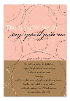 rise and dine post wedding breakfast/brunch invitation - celebrate, Wedding invitations
