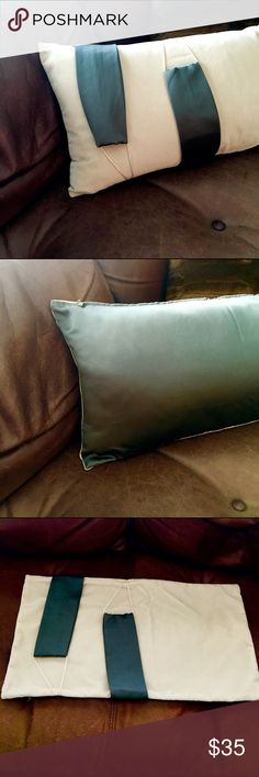 NEW Eastern Accents Pillow LuxCream/blue Grey Silk Modern Decorative pillow case. Zipper closure. Two strips of cool grey silk wrapped on front side of pillow. Connected with thin rope for a canopy look. Eastern Accents is a high end bedding store who sells to high end stores like Neiman's. Price is for pillow cover only. Luxurious velvet cream combined with a cool grey silk material. These pillows are more appreciated when you actually feel them. Eastern Accents Other