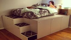 n this project, I turned seven standard kitchen cabinets from IKEA into a platform bed for my daughter. - This man came up with a clever way to get bedroom storage with IKEA kitchen cabinets—and it looks SO amazing! - This might be the coolest thing you Platform Bed With Storage, Bed Platform, Ikea Platform Bed Hack, Full Size Platform Bed, Raised Platform Bed, Platform Bedroom, Billy Regal Ikea, Cama Murphy, Murphy Beds