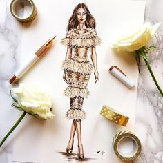 Loving the feathered detail on this couture creation. Fashion Illustration Dresses, Fashion Illustrations, Fashion Figures, Dress Sketches, Dress Drawing, Fashion Sketchbook, Fashion Portfolio, Fashion Design Sketches, Creative Thinking