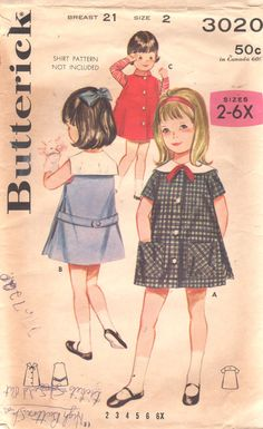 Butterick 3020 1960s Girls Side Pleated A Line Dress and Jumper Pattern Toddlers Pre School Dress Vintage Sewing Pattern Size 2 Breast 21