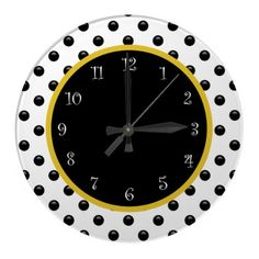 Modern acrylic wall decor time clock with black, white and gold colors and fun polka dot pattern. Polka Dot Classroom, High School Classroom, 2nd Grade Classroom, Future Classroom, Classroom Themes, Black And Gold Theme, Black Gold, Black White, Class Decoration