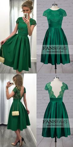 Green Prom Dresses,Short Prom Dresses For Teens,Casual Prom Dresses A-line, Satin Tulle Prom Dresses Knee-length,Lace Prom Dresses Backless