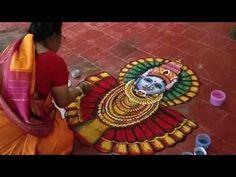 How Renuka Devi Rangoli made by Smt. Mangalam Srinivasan (Part Rangoli Designs Latest, Simple Rangoli Designs Images, Rangoli Designs Flower, Rangoli Border Designs, Rangoli Ideas, Rangoli Designs Diwali, Rangoli Designs With Dots, Flower Rangoli, Beautiful Rangoli Designs