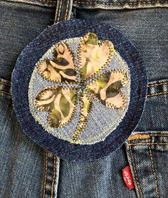 four leaf clover good luck Irish denim patch for your denim jacket, jeans patch, denim tote... http://etsy.me/2obGoLq