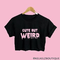 Cute But Weird Text Black Baggy Crop Top Emo Hipster Pastel Goth Grunge Kawaii in Clothes, Shoes Accessories, Womens Clothing, Tops Shirts Neo Grunge, Pastel Grunge, Style Grunge, Black Grunge, Soft Grunge, Hipster Grunge, Pastel Goth Fashion, Grunge Fashion, Gothic Fashion