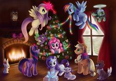 mlp christmas, Fluttershy, Rainbow Dash, Rarity,