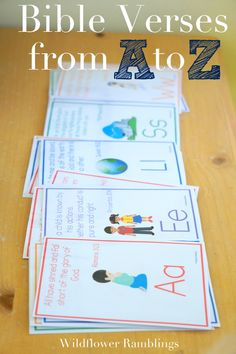 A to Z Bible Verses for Children {free printable!} with Songs!! from WIldflower Ramblings