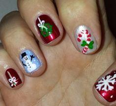 Christmas nails and nail art by Nicole Ferro Short Gel Nails, Christmas Nails, Nail Art, Beauty, Christmas Manicure, Nail Arts, Xmas Nails, Beauty Illustration, Nail Art Designs