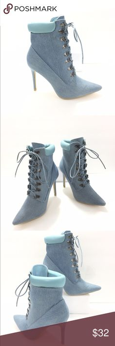 "NWOB lite blue denim pointy toe bootie NEW, this denim bootie will make any casual outfit look awesome, loop eyelets, ankle cushion, pointy toe to add that perfect look, heel 4.25"" Cape Robbin Shoes Ankle Boots & Booties"